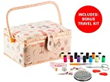 StorageMaid Sewing Basket with Bonus Travel Kit – All Essential Mending Supplies – DIY Darning Supplies Organizer Filled with Scissor, Thimble, Thread, Sewing Needles, Tape Measure and More