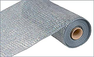 Deluxe Wide Foil Poly Deco Mesh, 10 Inches x 10 Yards (Platinum, Laser Silver Foil)