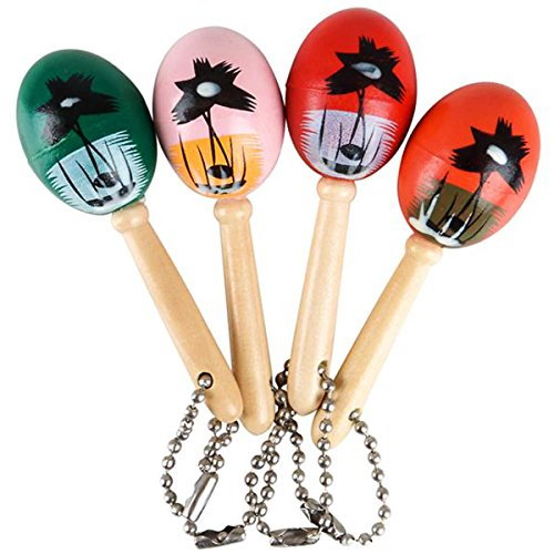 Mini Wooden Hand Painted Maracas Keychains 2 Dozen Keychains - Great Party Favors for Cinco De Mayo Celebrations, Parades, Fiestas and Birthday Parties