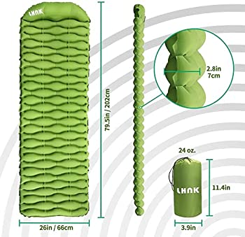 LHNK Tapis de couchage pour le camping avec oreiller en éponge confortable, matelas pneumatique à gonflage rapide, double tapis de camping ultraléger connectable pour le sac à dos, la randonnée
