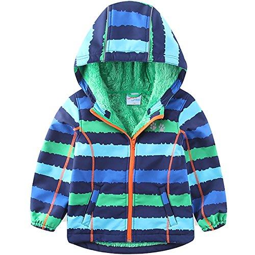 umkaumka Softshell Jacke für Kinder Fleece gefüttert mit Kapuze Gr.104, Softshelljacke Jungen Mädchen Übergangsjacke mit Reflektoren