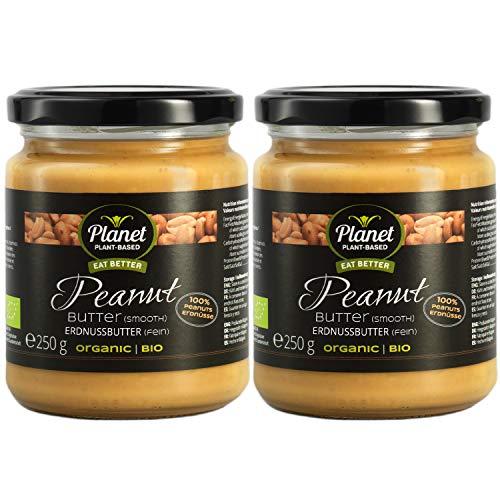 Planet Plant-Based Bio Erdnussbutter Smooth 2er Pack (2x250g) Bio Peanut Butter Aus 100% Bio-Erdnüssen, Ohne Zusatzstoffe, Vegan, Glutenfrei, Ohne Zusatz Von Zucker - Extra Cremig