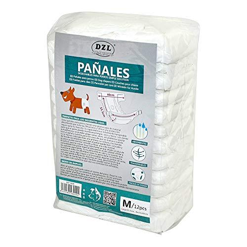 SMELL & SMILE Pañales Desechables para Perro Pañales para Perros Hembra Pañal Sanitarios para Perro Mascotas Bragas Higiénicas Suaves absorbentes (M)