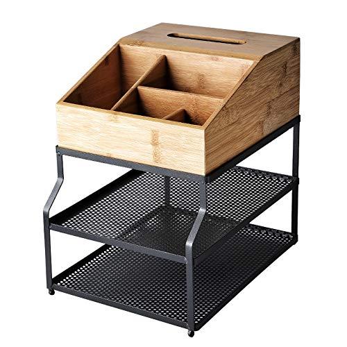 Boîte à Bijoux Sac Cosmétique Multi-Fonction Boîte de Rangement cosmétique étagère de boîte à mouchoirs en Tissu de ménage Table de Toilette Trois Couches