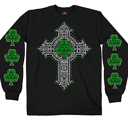 Hot Leathers Men's Long Sleeve Celtic Cross Shamrock Shirt (Black, X-Large)