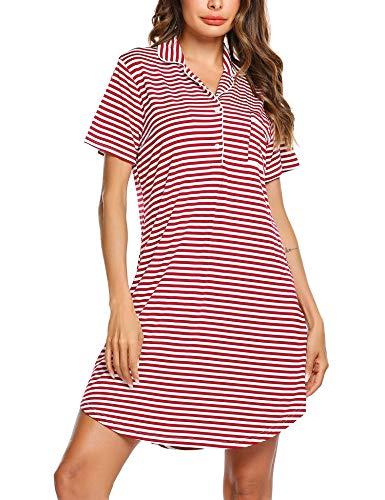 Ekouaer Womens Sleepwear Short Sleeves Nightgown Breastfeeding Nursing Dress Striped Boyfriend Style Top Loungewear S-XXL
