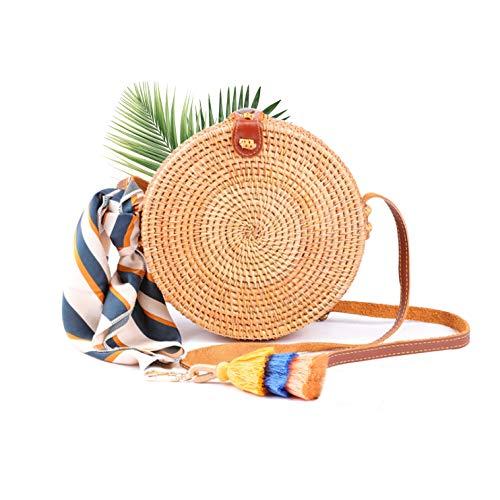 MONU Upgrade Ata Rattan Bag Round Hand Woven Bohemian Crossbody Purse, Circle Handmade Straw Beach Tote, Chic Handbag with Leather Adjustable Shoulder Straps for Women Girls