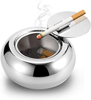 AODOOR Windproof Ashtray with Lid, Stainless Steel Cigarette Ashtray for Outdoor or Indoor Use, Modern Flip Top Ashtray for Smokers, Suitable forTabletop, Patio, Office & Home Decoration