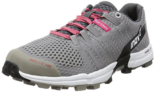 Inov-8 Women's Roclite 290 Trail Runner, Grey/Pink/White, 8.5 D US