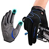 Tanluhu Cycling Gloves Mountain Bike Gloves Biking Gloves for Men Women Outdoor Full Finger Touch Screen Anti-Slip Shock-Absorbing MTB Gloves Road Bicycle Gloves(Navy)