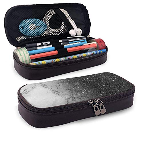 Stylish Faux Black Glitter Ombre with Zipperhite Marble Portable Leather Pencil Case Pencil Bag Pouch with Zipper