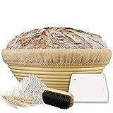 Scuuby® Gärkörbchen (ø 25 cm) | Der Optimale Gärkorb aus natürlichem Peddigrohr inkl. Teigschaber, Leineneinsatz und Holzbürste | Gärkörbchen rund | frisches und gesundes Brot selber Backen