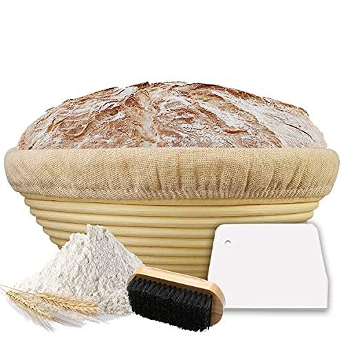Scuuby® Gärkörbchen (ø 25 cm)   Der Optimale Gärkorb aus natürlichem Peddigrohr inkl. Teigschaber, Leineneinsatz und Holzbürste   Gärkörbchen rund   frisches und gesundes Brot selber Backen