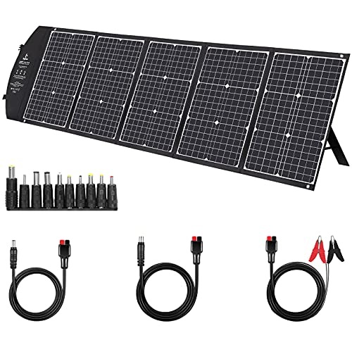 150W Solar Panel Kit, BigBlue Portable Solar Charger with Kickstands, 60W PD Type-C/2USB/Anderson Connector, Compatible with Suaoki/Jackery/Goal Zero Power Station, Laptops Car Boat RV Battery
