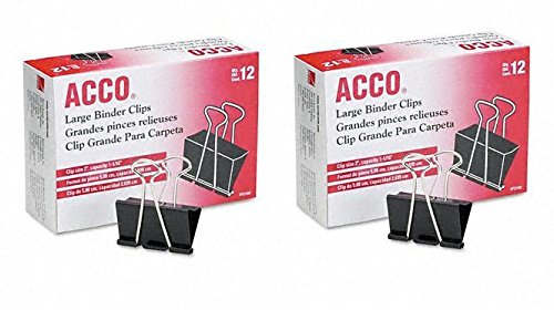 ACCO Binder Clips, Large, 2 Boxes, 12 Clips/Box (72102), Black