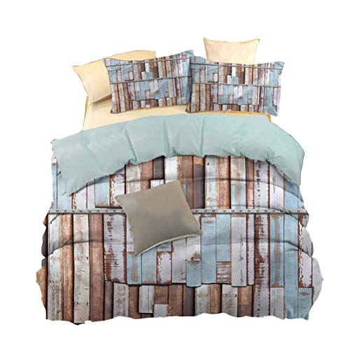 hengshu 3-Pack (1 Duvet Cover and 2 Pillowcases) Bedding, Polyester - Soft and Breathable, Rustic, Rusty Screw Wooden Style, W86 x L102 Inch,