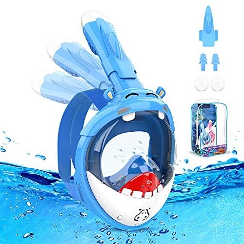 Tauchermaske Vollmaske Kinder, 180° HD Anti-Fog & Anti-Leck Schnorchelmaske Taucherbrille Kinder, Faltbare Taucherbrille Tauchmaske Schnorchelset für 4-12 Jahre Kinder Pool Spielzeug Wasserspielzeug