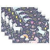 Moyyo - Tovagliette all'Americana a Forma di Unicorno con Stelle Arcobaleno e Fiori di Stella, Lavabili e Personalizzabili, per la Sala da Pranzo, la Cucina e la tavola, Multicolore, 12x18x6 PCS