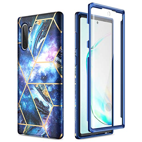 SURITCH Marble Samsung Galaxy Note 10 Case, [Built-in Screen Protector] Full-Body Protection Shockproof Rugged Bumper Protective Cover for Samsung Galaxy Note 10 6.3 inch (Space Blue)