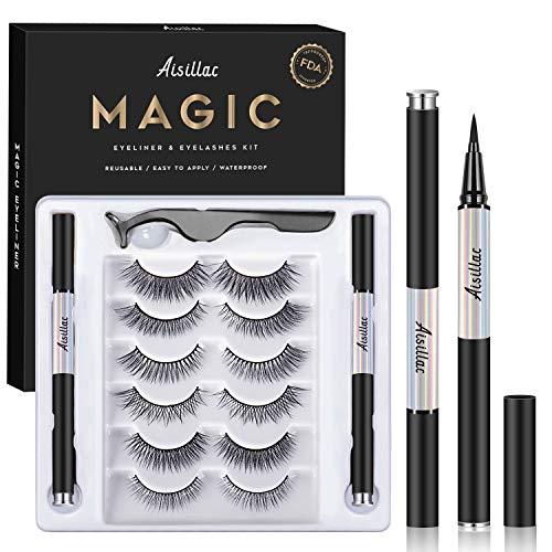 Wimpern und Eyeliner Kit,Kein Kleber Wiederverwendbare Wasserdichtem Langlebigem Nicht Magnetische 3D Wimpern 6 Paar mit 2 x Eyeliner und Wimpernzange,für alle Stil