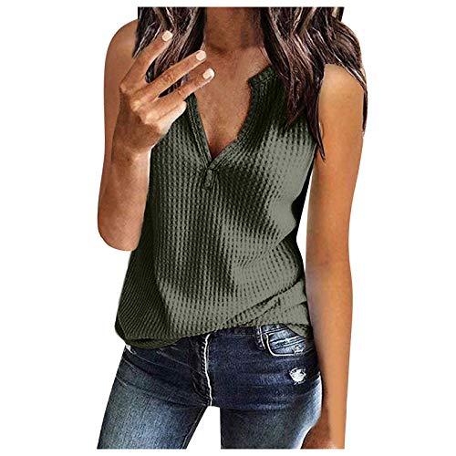 ITISME 2021 Nouveau été Débardeur Femmes Sexy, T-Shirt sans Manches Hauts Femmes Sexy Bouton Col en V Gilet Camisole Top Crop Blouse Hauts Femme Débardeur Dentelle Long Mode (XL, Z#7 Blanc)
