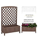 """GUTINNEEN Garden Planter Box Raised Bed with Trellis for Vegetable and Tomato Flower Standing Lattice Panels for… 7 Made of 100% Solid Fir Wood,perfect for indoor and outdoor use,provide a gardening solution constructed to last through every season OVERALL DIMENSIONS: 31.1""""(L) x 12.2""""(W) x47.2""""(H) Herb garden bed perfect for all kind of flower, vegetable,tomato and other planters.Can standing on yard, terraces, balconies, corridors,patios turn your space into a green one. Wood trellis creates a good stable environment for your creeping and vine plants. In addition, the lattice can also hanger plants or any kind of Light gardening tools."""