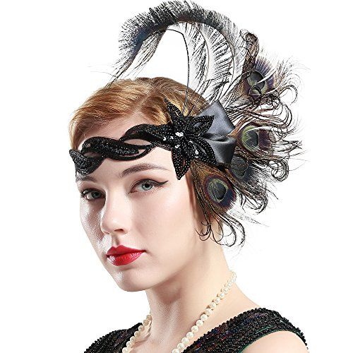 BABEYOND 1920s Flapper Peacock Feather Headband 20s Sequined Showgirl Headpiece (Style-5)