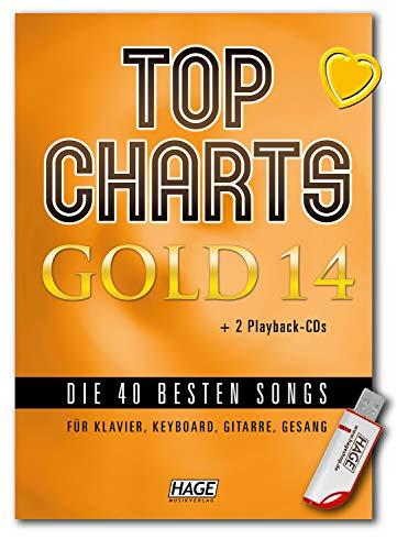 Top Charts Gold 14 (mit 2 CDs + Midifiles, USB-Stick) - Die 40 besten Songs für Klavier, Keyboard, Gitarre und Gesang - Songbook mit bunter herzförmiger Notenklammer