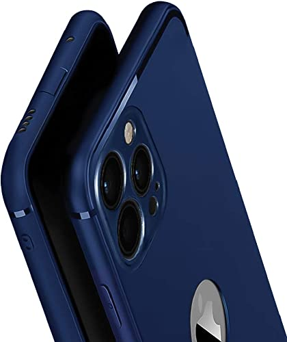 WOW Imagine Soft Silicone All Sides Protection 360 Degree with Anti Dust Plugs Shockproof Slim Back Case Cover for Apple iPhone 12 Pro Max 6 7 inch Screen Navy Blue