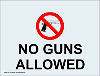 No Guns Allowed Label Decal, 5x3.5 in. 4-Pack Vinyl Cling for Alcohol/Drugs/Weapons by ComplianceSigns