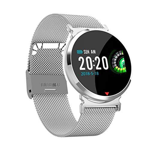HaiQianXin Fitness Bluetooth Smart Watch Bracciale con monitoraggio della frequenza cardiaca Monitoraggio della pressione arteriosa (Color : Silver Steel Band)