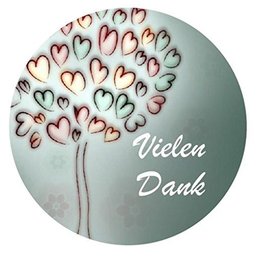 48 VIELEN DANK Aufkleber Sticker zum Danke sagen - Ideal für Geburtstag, Hochzeit, Weihnachten - 3,8 x 3,8 cm - Herz