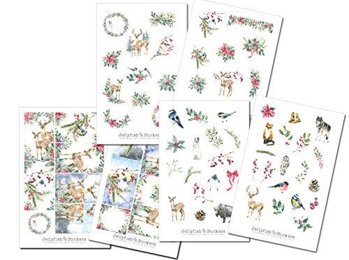 Weihnachten Tiere Sticker Set - Journal Sticker, Planer Sticker, Aufkleber Weihnachten, Feiertage, Winter, Sticker Weihnachten, Pflanzen
