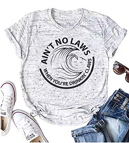 Qbily Womens Ain't No Laws When You're Drinking Claws Shirts Funny Cute Day Drinking Graphic Tee Tops (XL, C)