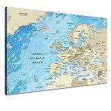 """LanaKK – Europakarte Leinwandbild mit Korkrückwand zum pinnen der Reiseziele """"Europakarte Frozen"""" - englisch - Kunstdruck-Pinnwand Globus in blau, einteilig & fertig gerahmt in 100x70cm"""