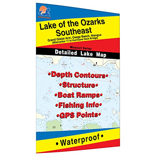 Lake of The Ozarks-Southeast (Hurricane Deck to Milemarker 17) Fishing Map