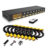 eKL VGA KVM Switch 8 Port in 2 Out Switcher 8x2 Supports Basic Wireless Keyboard...