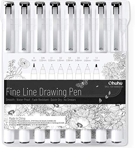 Fineliner Drawing Pen, Ohuhu Set of 8 Pack Ultra Fine Line Drawing Markers, 8 Assorted Tip Sizes, 7 Fine Tip Markers with a Brush Tip, Black Ink for Markers Painting, Back to School Gift Card Writting
