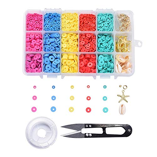 Airssory 1 caja 4/6 / 8mm Kit de fabricación de joyas DIY con cuentas de arcilla polimérica cuentas de concha de Cowrie mezcladas espaciadores de cuentas de latón colgantes tijeras