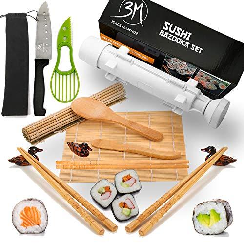 Sushi Making Kit by Black Markhor  Sushi Maker Includes Bamboo Sushi Rolling Mats  Sushi Knife  Avocado Slicer – Rice Paddle amp Spreader  Sushi Bazooka – 3 x Chopsticks
