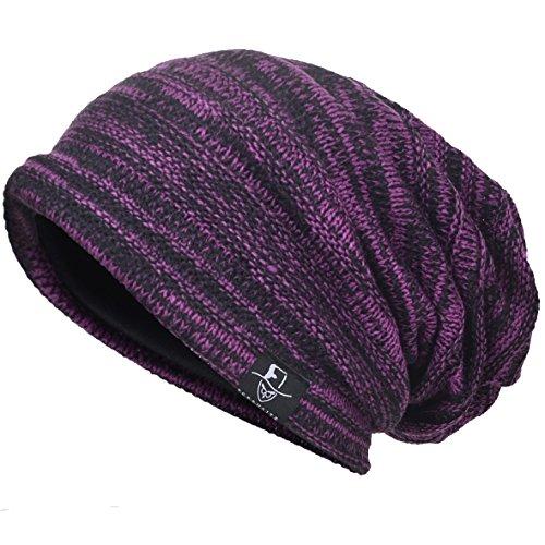 VECRY Hombre Flexible Gorros de Punto Tejer Casquete Artísticos Sombreros (Púrpura)