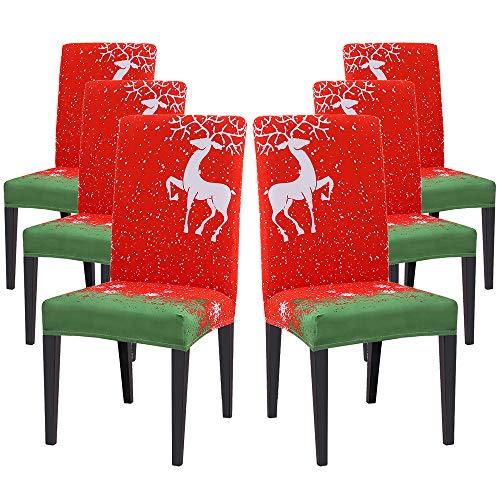 Fundas de Silla de Comedor Elásticas,Modernas Fundas Sillas de Navidad, Extraíbles y Lavables, Fundas de Licra para sillas Altas 6 Piezas Fundas Protectoras para sillas (Rojo/Alce,6 Unidades)