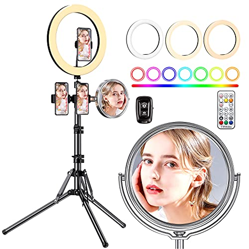 Amada 10.2' Selfie Ring Light with Double-Side Makeup Mirror, Extendable Tripod Stand with 4 Phone Holder, 26 RGB Colors, 3 Lighting Modes and 8 Brightness Levels for YouTube Video, Tiktok
