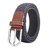 BOZEVON Cinturón elástico tejido - Multi-colores Cinturón de tejido elástico trenzado la tela de estiramiento para Hombres Mujeres Gris oscuro
