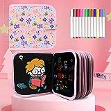 Tarnel Tabla de Dibujo Portátil para Niños Libro Pizarra Reutilizable Tablero de Dibujo de Graffiti Doodle Juguetes de Dibujo para Niños con 12 Plumas de Colores 14 Página
