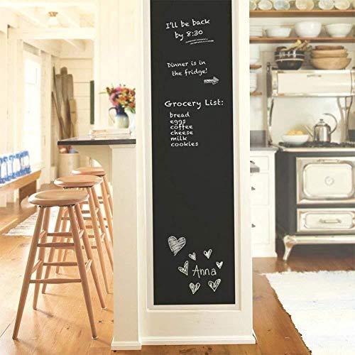 DaQi 2 Rolls Chalkboard Vinyl Paper Wall Decal Sticker Adhesive Blackboard, Eraserable Adhesive Paper Blackboard Surface Wallpaper with 10 Colorful Chalks,Each Roll 17.7'' × 78.7''