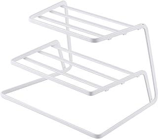 XCXDX Support À 3 Niveaux en Fer, Insert De Coin Cuisine, Organisateur De Vaisselle, Blanc (2pcs)