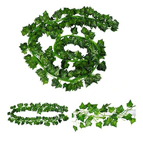 2er Künstlich Efeu Hängend Pflanze Blätter Girlande für Garten Wanddekoration DE