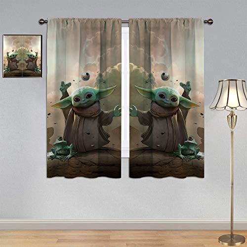 Baby Yo_da Curtains, Decorative Curtain 2021 Video Movie Fantasy Art Window Curtain Fabric Blackout Kids Curtains W52 x L63