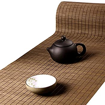 Tea Talent Handmade Natural Bamboo Sticks Tablemat Decor Kungfu Tea Set Slat Mat Placemat Tea Table Runner 12 by 70-inch Coffee